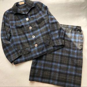 Pendleton Vintage Wool Skirt Suit Set Plaid